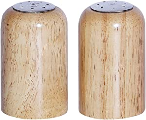 Wooden Salt and Pepper Shakers Set, Stainless Steel Top Lids Seasoning Holder Home Decor for Kitchen Traveling Camping, Set of 2