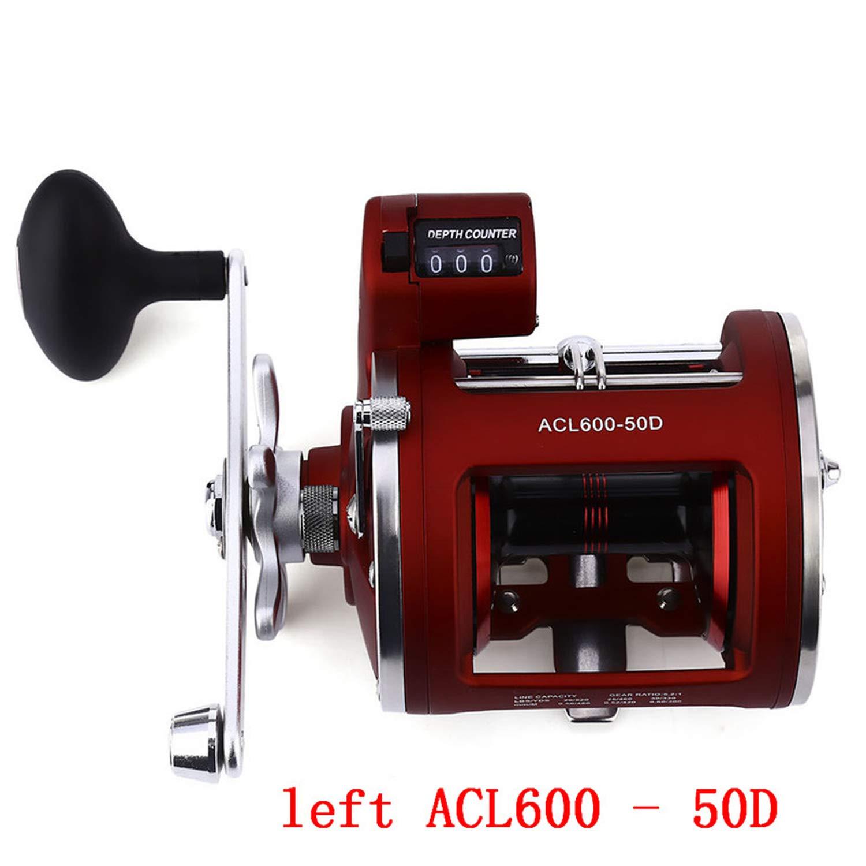 12ベアリング フィッシングリール トローリング キャストドラムホイール 電動デプスカウントマルチプライヤー One Size Left ACL600-50D B07H7CRFFL