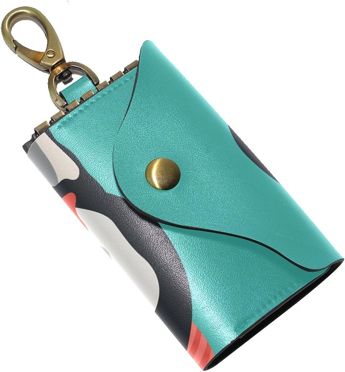 DEYYA Cartoon Husky Dog Leather Key Case Wallets Unisex Keychain Key Holder with 6 Hooks Snap Closure