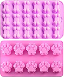 BREEZO Silicone Baking Mould, 2PCS Cat paw & Bone Shaped Reusable Ice Cube Trays, Silicone Moulds for Candy, Chocolate, Gummy, Jelly, Soap Molds DIY, Cookies Molds for Pets and Kids