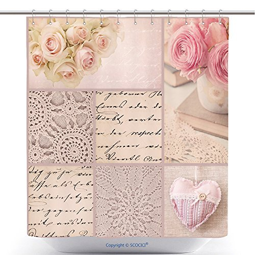 Pink Rose Clipart - Vintage French Letter Clip Art Pink Gold Nursery Letter Art Roses And Old Letters Bathroom Shower Curtain - Waterproof And Mildewproof Havy-Duty Polyester Fabric Bathroom Curtain Ideas (72