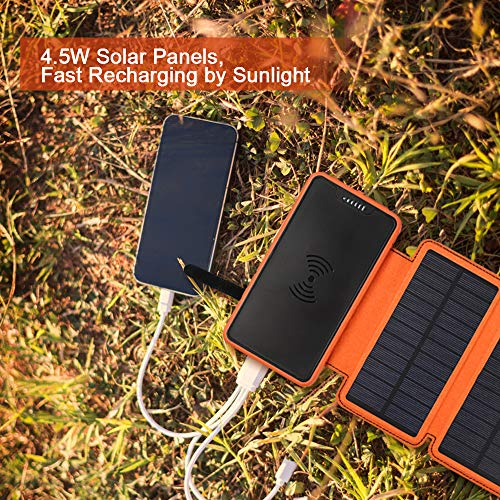 soyond Solar Qi Power Bank Solar Wireless Phone Charger Protable Qi Battery Pack 20000mAh Waterproof with Dual Ports for iPhone, Andriod Phone, iPad(Orange Wireless Charger) by soyond (Image #4)