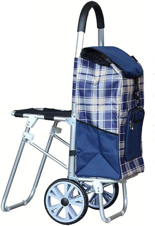 Super Black Bull Carro de Compras, Escalera de Aluminio con escaleras para Subir con Silla Carro de Compras Carro de Equipaje Plegable portátil Carro de Carro portátil (Color: Azul), Azul: Amazon.es: Hogar
