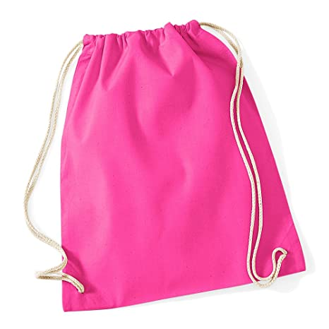 284849883b82 Westford Mill Cotton Lightweight Draw String Gym Sac Bag - Fuchsia ...