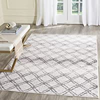 Safavieh Adirondack Collection ADR105P Silver and Charcoal Modern Distressed Trellis Area Rug (4 x 6)