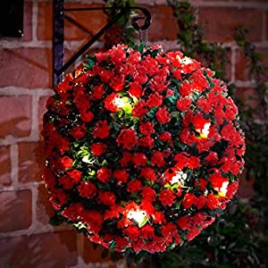 Juego de 2–28cm rosa roja funciona con energía solar Topiary pelota con 20LED luces–de doble función