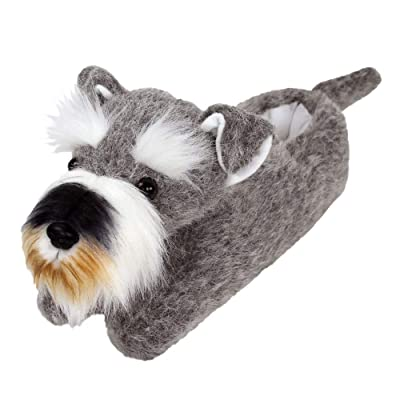 AnimalSlippers.com Schnauzer Slippers - Plush Dog Animal Slippers Grey | Slippers