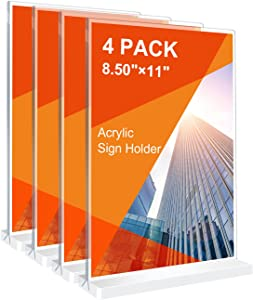 Acrylic Sign Holder, 8.5 × 11 inches Double-Sided Desktop Display Holder, 4 Pack Plastic Display Stand, T-Shaped Sign Holder,Very Suitable for Homes Restaurants Offices Shops