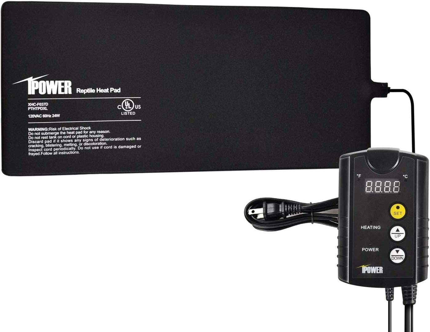 iPower Terrarium Reptile Heating Pad Under Tank Warmer Heater Mat with Digital Thermostat