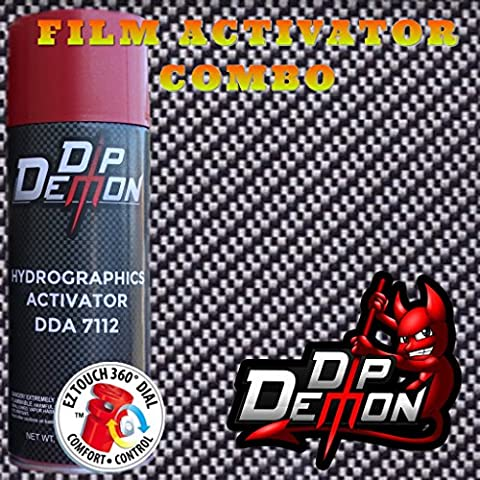 BLACK AND CLEAR CARBON FIBER HYDROGRAPHIC WATER TRANSFER FILM ACTIVATOR COMBO KIT HYDRO DIPPING DIP - Demon Carbon Fiber