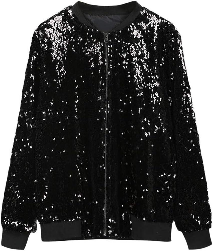 Romacci Mujer Lentejuelas Abrigo Chaqueta de Bombardero de Manga Larga con Cremallera Ropa de Calle Casual Prendas de Vestir Exteriores de Brillo Flojo