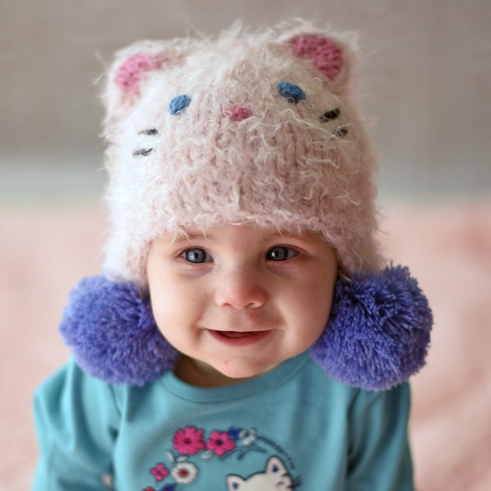 Huggalugs Baby and Toddler Girls Fuzzy Kitty Cat Beanie Hat Legwarmers