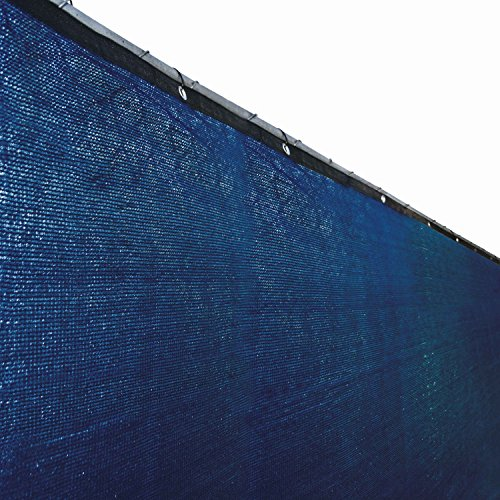 ALEKO 4 x 25 Feet Blue Fence Privacy Screen Outdoor Backyard Fencing Privacy Windscreen Shade Cover Mesh Fabric With Grommets (Blue Leaf Outdoor Furniture)