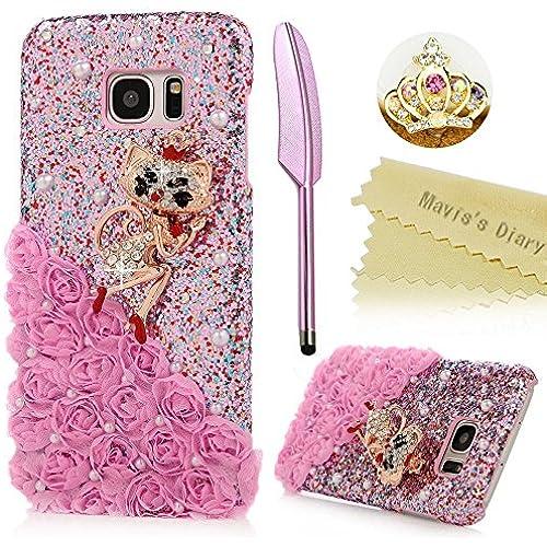 S7 Edge Case,Samsung Galaxy S7 Edge Case - Mavis's Diary 3D Handmade Fashion Diamond Cat with Pink Lace Flower Sales