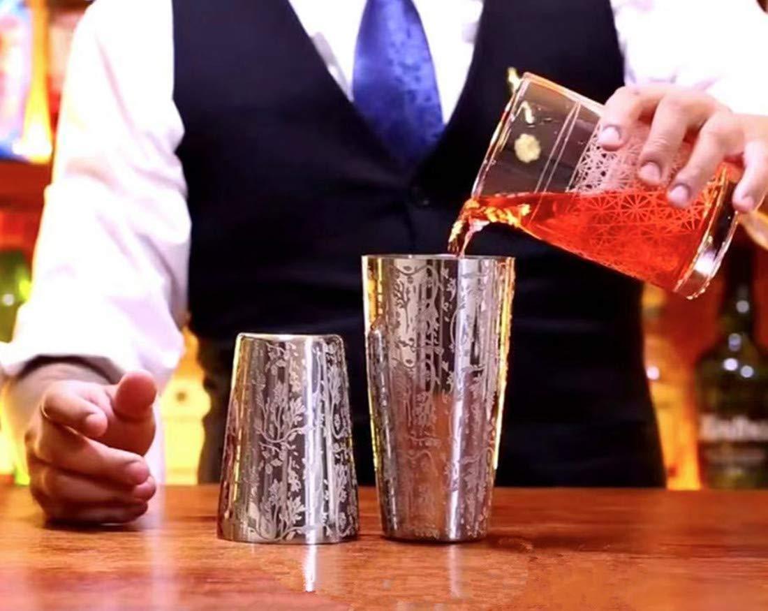 Mixing Spoon and Cocktail Pourer 9 Piece Measuring Jigger Muddler Black Boston Cocktail Shaker Set for Professional Bartender and Home Bar Including 18oz /& 28oz Tins Shaker Strainer