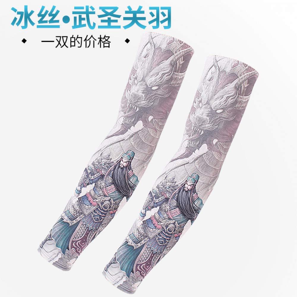 CXQ Manga de seda de hielo Protector solar Tatuaje Flor masculina ...