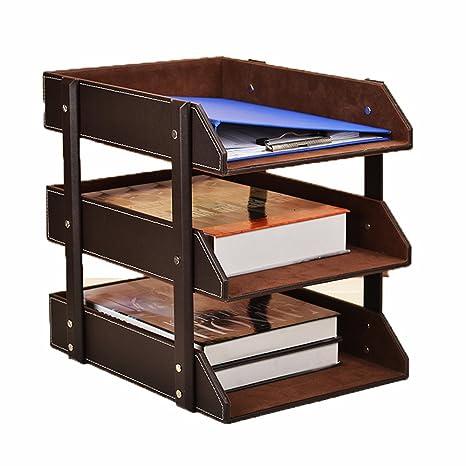 Escritorio de piel archivo bandejas carta, 3 capas oficina archivo de documento archivo bandeja caso