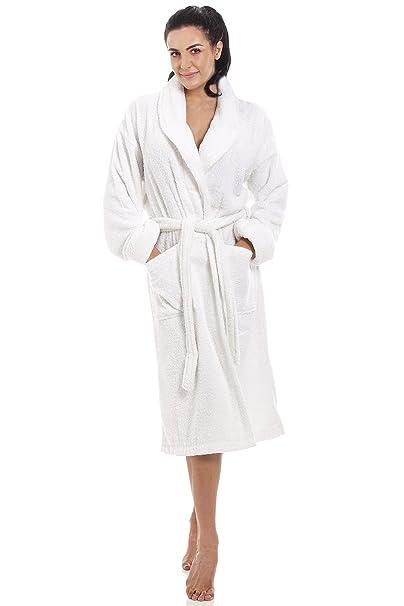 Albornoz para mujer - Tela de toalla de 100% algodón - Blanco S/M
