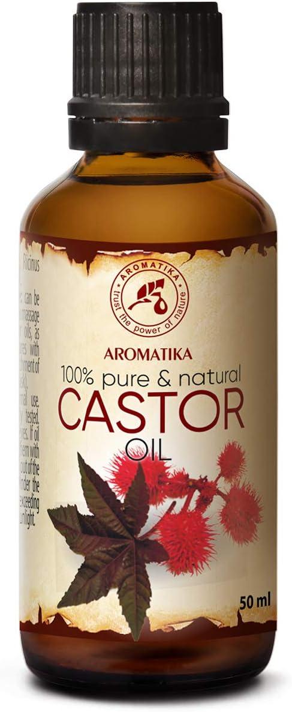Aceite de Ricino Puro 50ml - Castor Oil - Ricinus Communis - India - Cuidado Intensivo para el Rostro - Cuidado Corporal - Cabello - Piel - Botella de Vidrio - 100% Natural Aceite