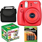 Fujifilm Instax Mini 8 Instant Film Camera (Red Raspberry) With Fujifilm Instax Mini 5 Pack Instant Film (50 Shots) + Compact Bag Case + Batteries Top Kit - International Version (No Warranty)