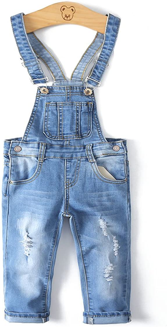 Kidscool Child Ripped Holes Stretchy Stone Washed Soft Jeans Overalls,Light Blue,3-4 Years