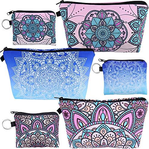 UPINS 6 Pack Women Mandala Flower Print Makeup Bag Makeup Organizer Travel Cosmetic Holder Purse Toiletry Pounch