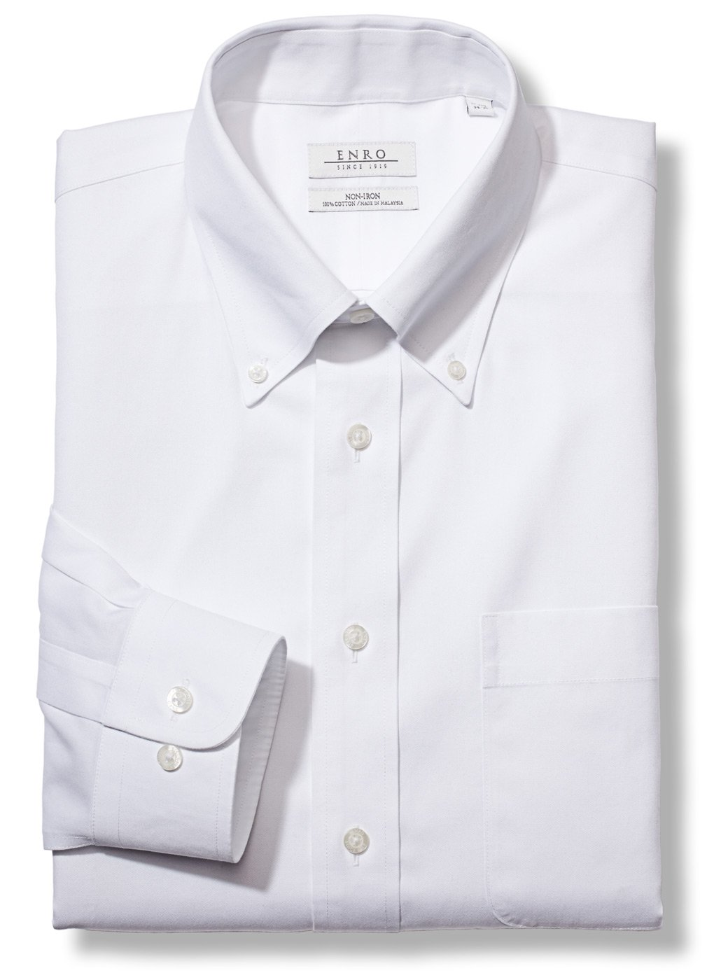 Enro Men's Big and Tall Classic Fit Solid Button Down Collar Dress Shirt, White, 20'' Neck 36''-37'' Sleeve