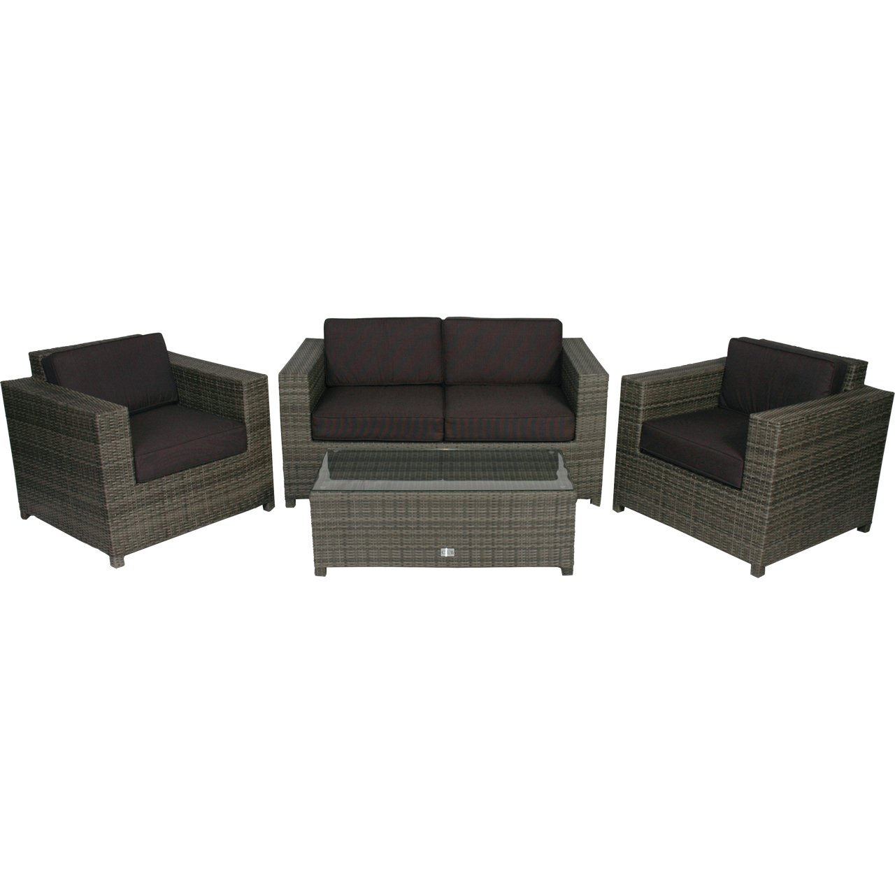 poly rattan lounge set 4tlg grau gartenm bel tisch glasplatte g nstig bestellen. Black Bedroom Furniture Sets. Home Design Ideas