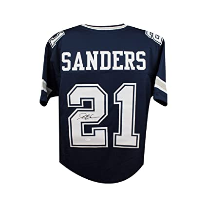 new product 9e7c3 165be Deion Sanders Autographed Dallas Cowboys Custom Navy ...