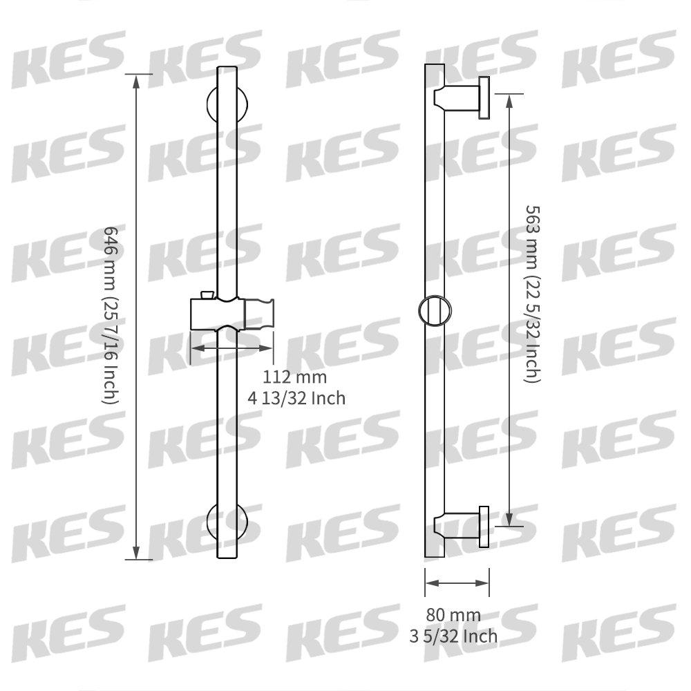 F204-2 Cepillado KES Barra De Ducha Ba/ño Ajustable Deslizante Bar Ronda Pared Monte SUS 304 Inoxidable Acero
