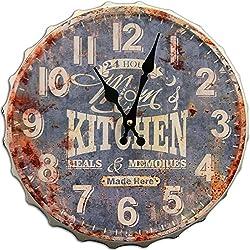 Round Decorative Metal Wall Clock Retro Antique Look Mom's Kitchen Bottle Cap 3D Quartz movement 13x13 inches