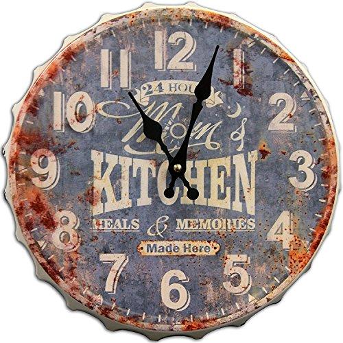 - Round Decorative Metal Wall Clock Retro Antique Look Mom's Kitchen Bottle Cap 3D Quartz movement 13x13 inches