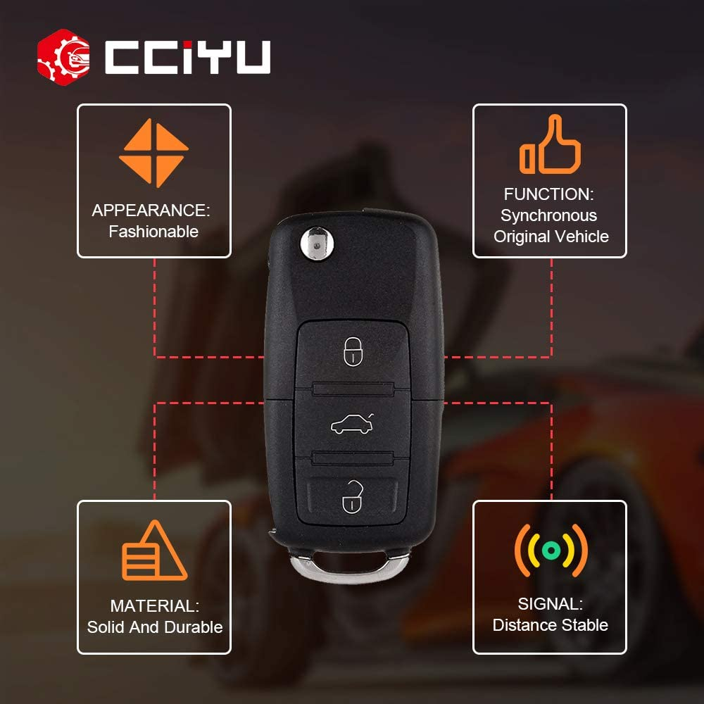 cciyu 2 X Keyless Entry Remote Control Car Key Fob 3 Buttons Replacement for V olkswagen Series 1J0959753DC
