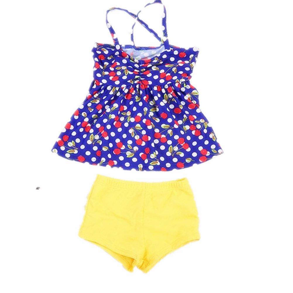 ZYZF Kids Childen Girls Polka Dots Tankini Bikini Swimwear Swimsuit 201607180098