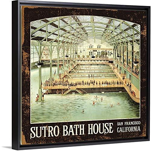 (Sutro Bath House San Francisco Vintage Advertising Poster Black Floating Frame Canvas Art, 38