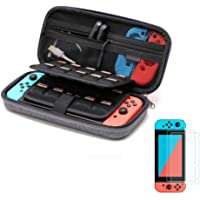 Soyan Carry Case for Nintendo Switch with 2 Pack Tempered Glass Screen Protectors, Built-in Game and Accessories…