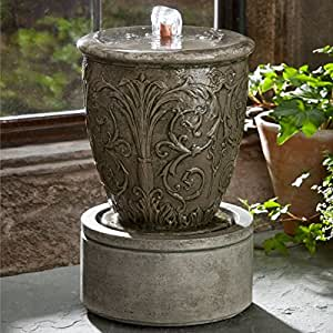 Campania Cast Stone Arabesque Garden Terrace Outdoor Fountain Terra Nera - FT-174-TN