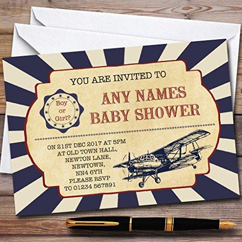 Vintage Air Force Aeroplane Invitations Baby Shower Invitations