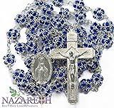 Catholic Rosary With Blue Zircon Crystals Beads Handmade Necklace Miraculous & Crucifix Jerusalem
