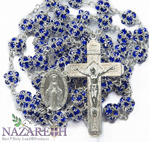 Catholic Rosary With Blue Zircon Crystals Beads Handmade Necklace Miraculous & Crucifix Jerusalem by Holy Land Gifts