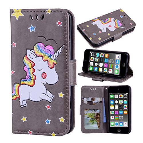 iPod Touch 6 Case, iPod Touch 5 Case, Ranyi [3D Glitter Unicorn Embossed] [Flip Magnetic Wallet] [3 Card Slot] Cute Bling PU Leather Folio Wallet Case for Apple iPod Touch 5 6th Generation (grey) (Ipod 5 Color Gray Case)