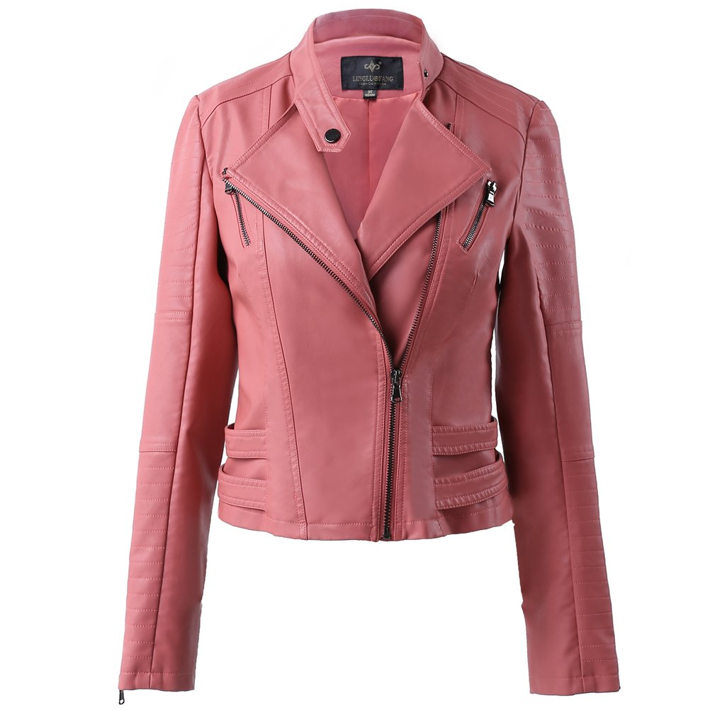 LLF Women's Faux Leather Moto Biker Short Jacket With Decorative Belt LingLuoFang