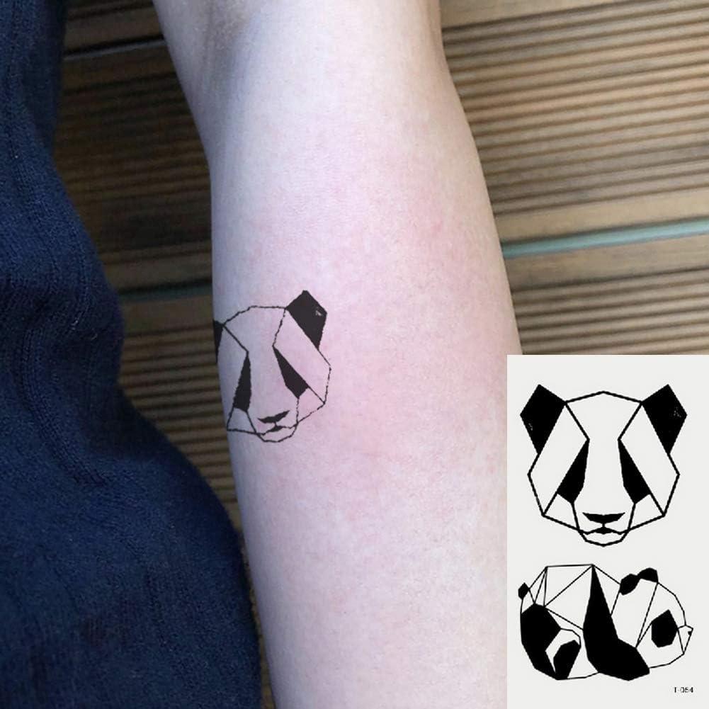 Oottati 2 Hojas Pequeño Lindo Tatuaje Temporal Tattoo Línea Panda ...
