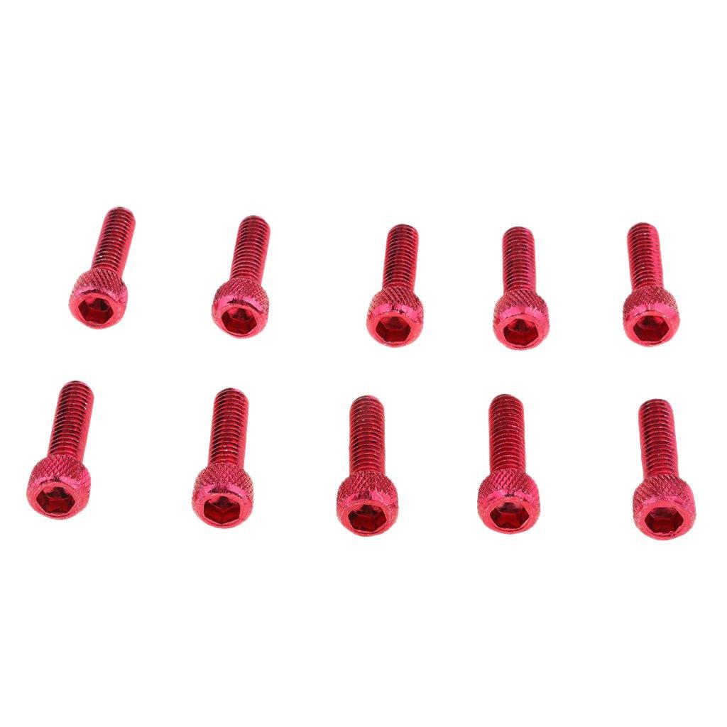 Shiwaki 10 Piezas M6x20MM Aleaci/ón De Aluminio Llave Hexagonal Perno Tornillo Cabeza Tornillos De Cabeza Roja