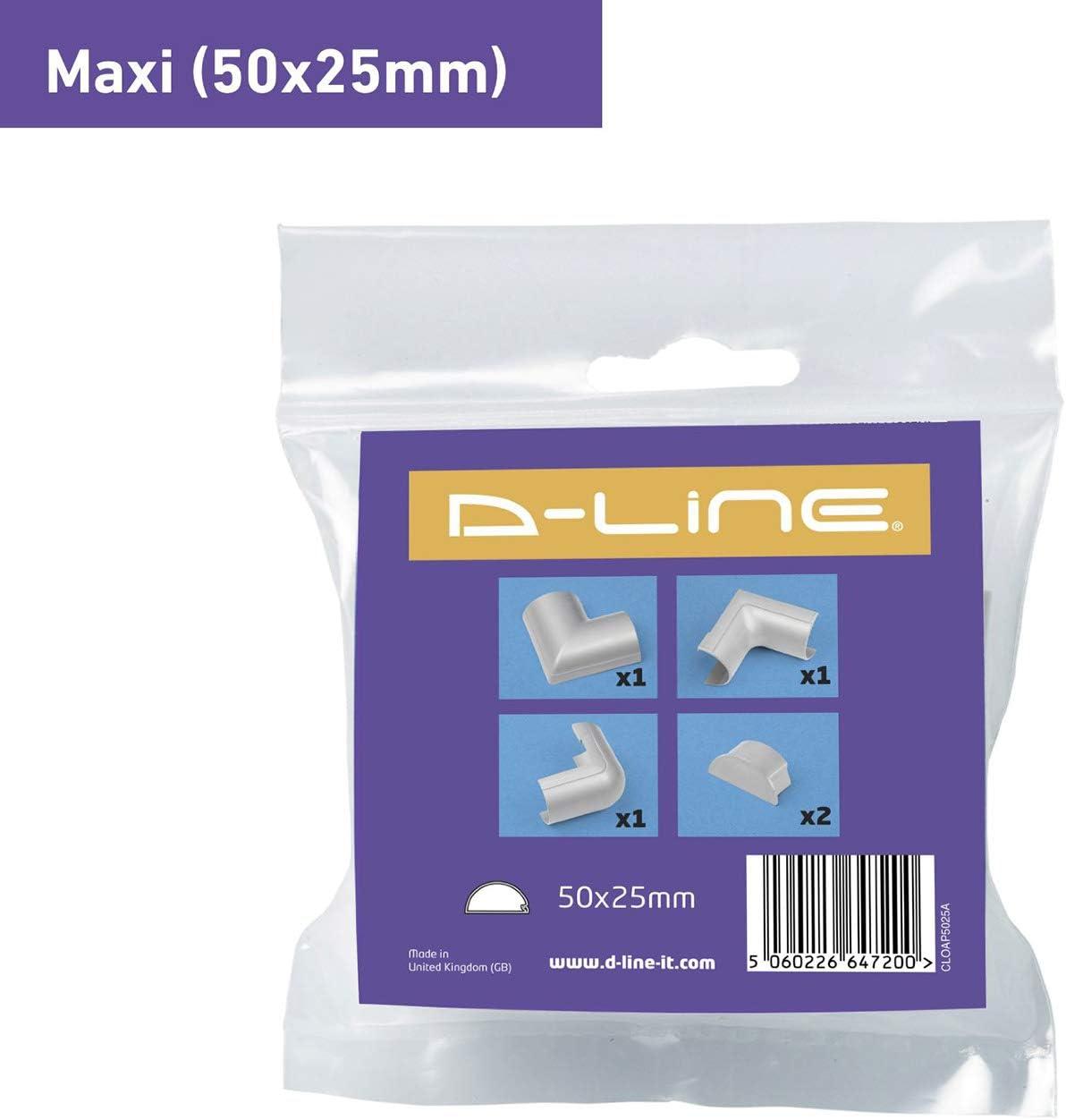 Multipack de 5 pi/èces raccords de goulotte /électrique Joindre plusieurs goulottes de 50x25mm Raccords /à clipser pour D-Line goulotte moulure Maxi Effet Aluminium