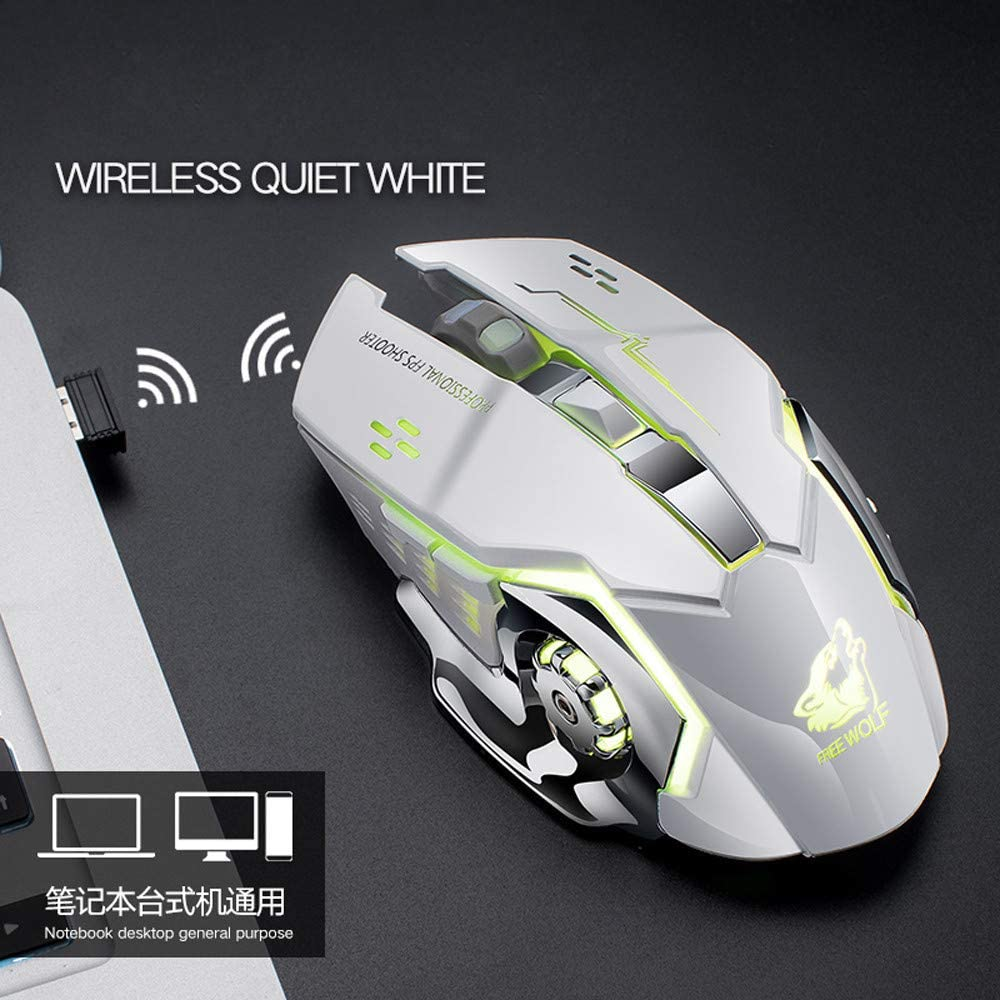 Black Rechargeable X8 Wireless Silent LED Backlit USB Optical Ergonomic Gaming Mouse Nano Receiver Charging Cable