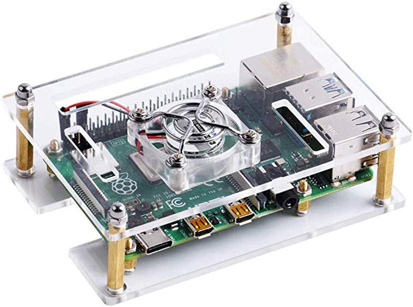 3B Clear Stackable Layer Housing Cover Meijunter Acrylic Case Shell with Silent Cooling Fan for Raspberry Pi 4B 3B+