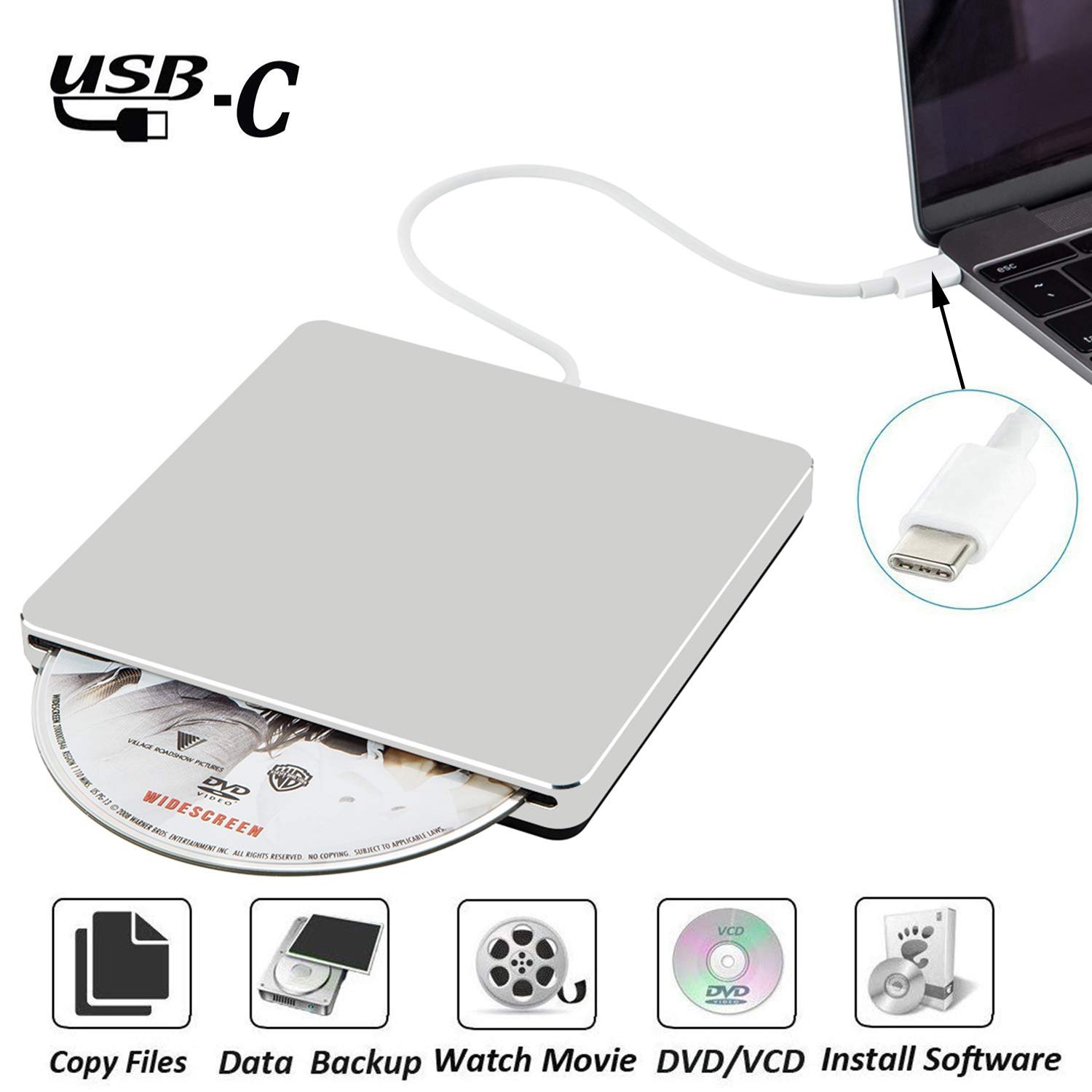Nolyth External Dvd Cd Drive Usb C Superdrive Lenovo Thinkpad Rw Eksternal Atau Slim Optical Rom Player Burner Writer Compatible Mac Book Pro Air Laptop Windows10silver
