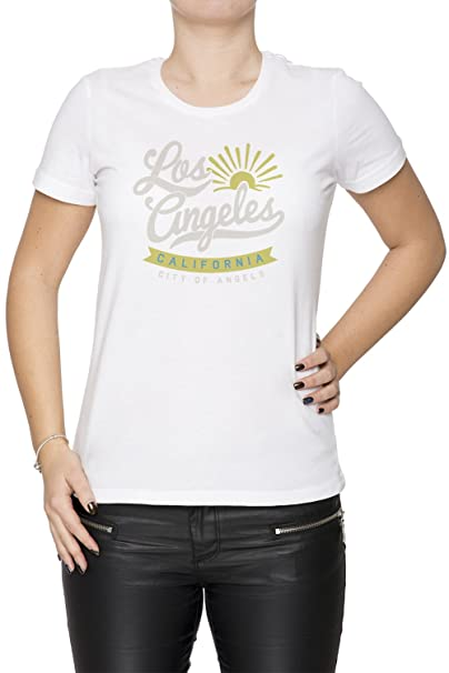 Los Angeles California Mujer Camiseta Cuello Redondo Blanco Manga Corta Tamaño S Womens T-Shirt