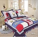 Newrara Children's Cartoon Bedding / Boy Bedroom Bedding / Firemen Hydrant Fire Truck Bedding / Patchwork Quilt / 2 Pc Twin Size Quilt & Shams Set 70 *86in